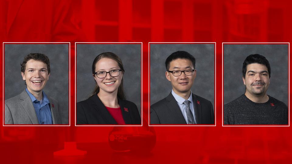 Professor James Checco, Professor Catherine Eicchorn, Professor Yinsheng Guo, and Professor Joe Yesselman