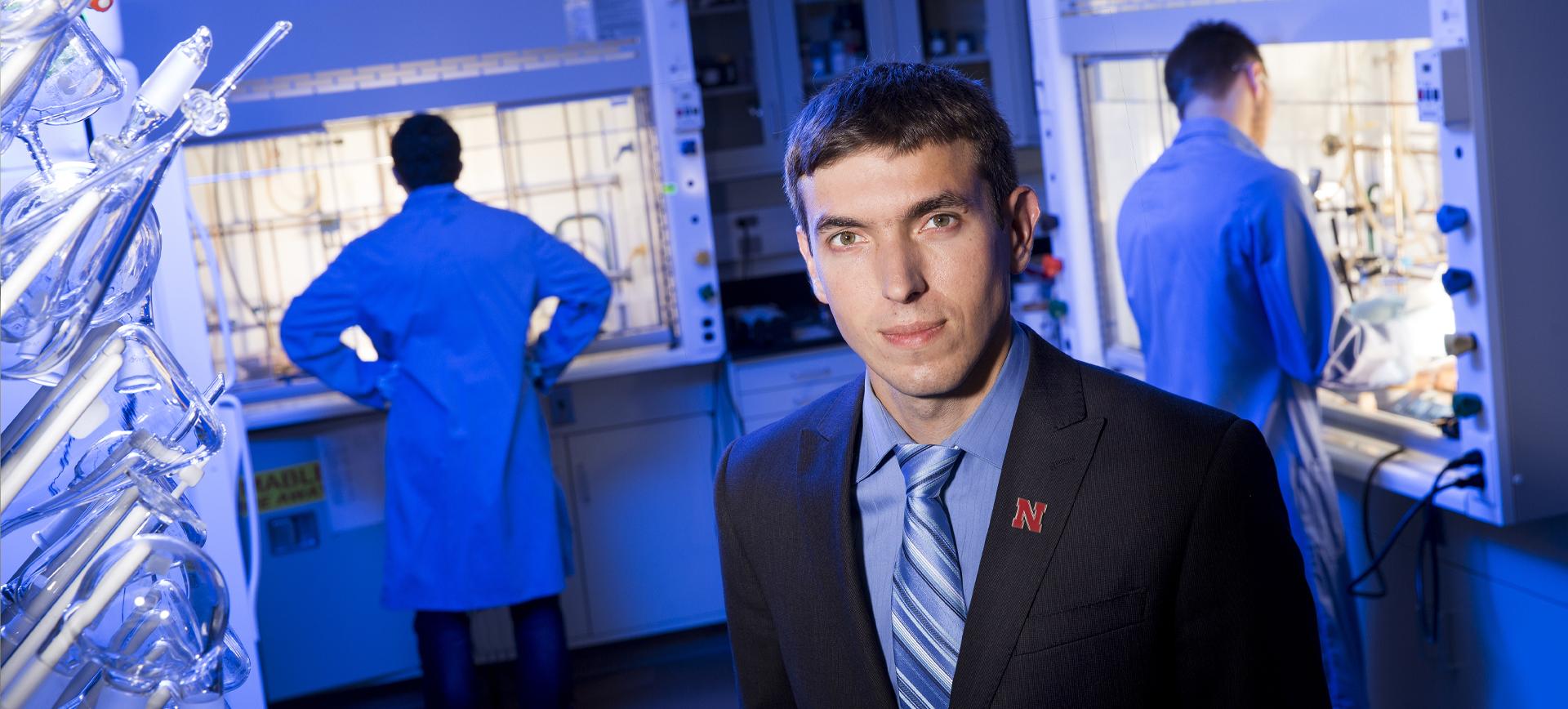 Professor Alexander Sinitskii in the lab