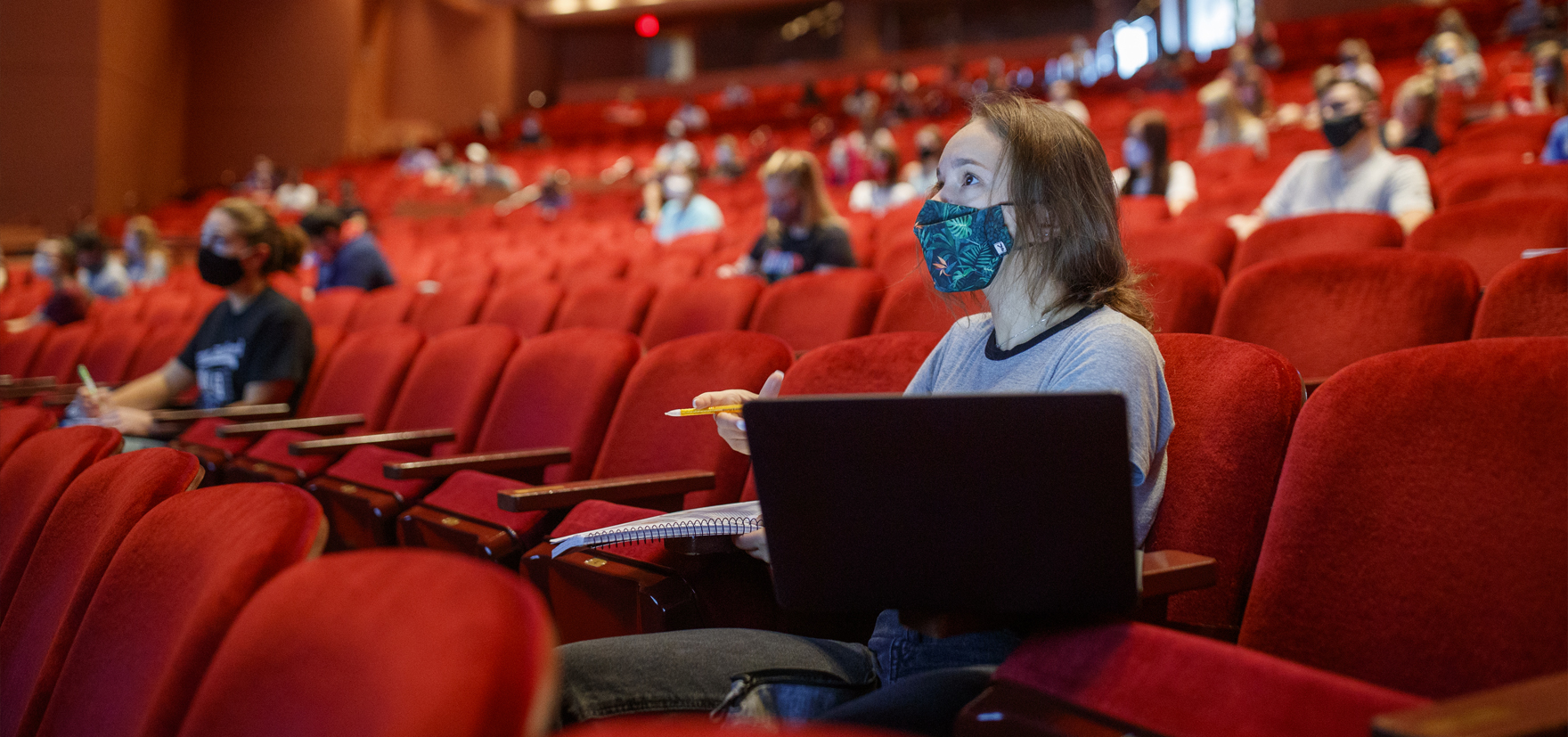 Student in a chemistry lecture hosted in the Lied Center
